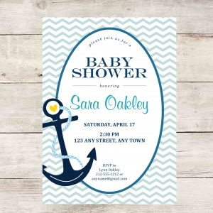 Nautical Baby Shower Invitation (Light Blue Anchor)