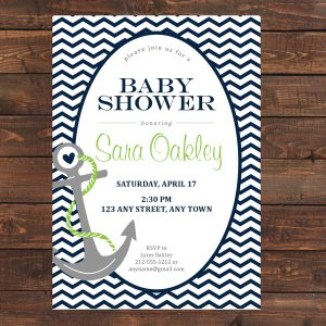 Nautical Baby Shower Invitation (Navy Blue Anchor)