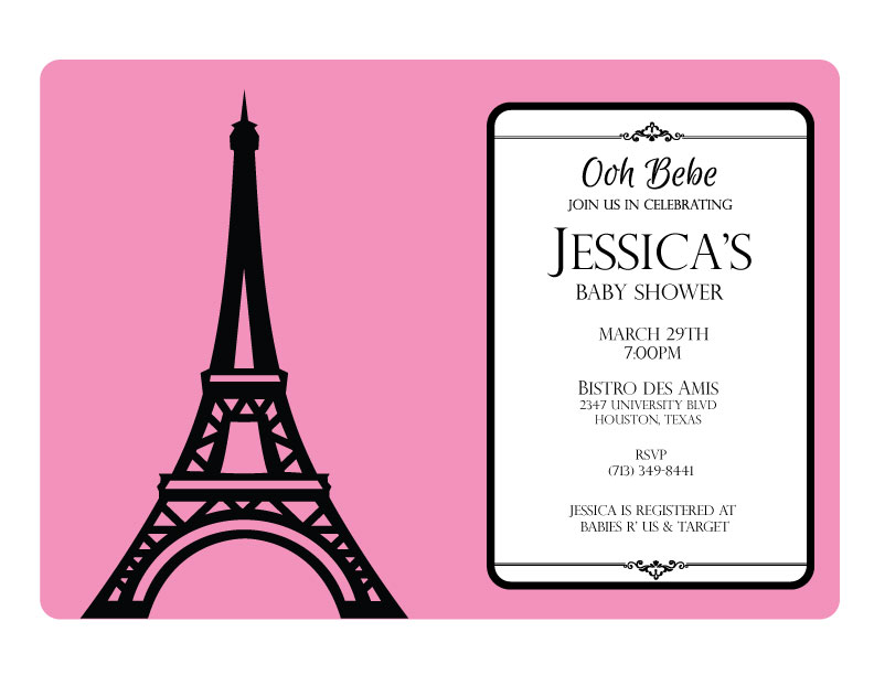 Parisian Baby Shower Invitation Pink Crowning Details