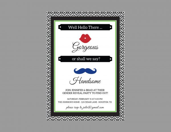 Gender Reveal Invitation  (Blue/Red Mustache & Lips)