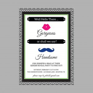Gender Reveal Invitation (Pink/Blue Mustache & Lips)