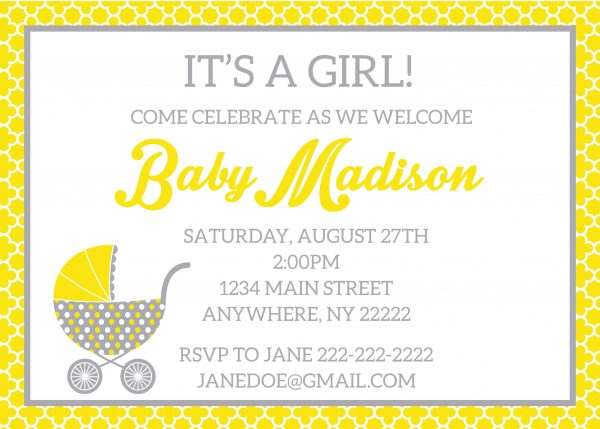 Yellow & Gray Vintage Baby Stroller Invitation