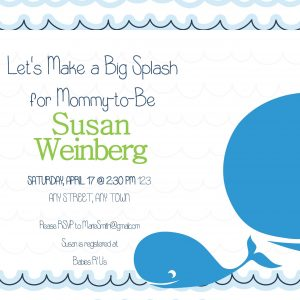 Mama & Baby Whale Baby Shower Invitation- Blue