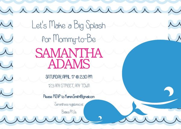 Mama & Baby Whale Shower Invitation- Pink