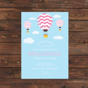 Hot Air Balloon Baby Shower Invitation (Pink)