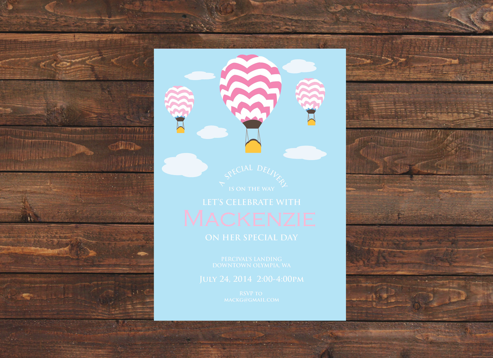 Hot Air Balloon Baby Shower Invitation (Pink) - Crowning Details