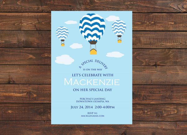Hot Air Balloon Baby Shower Invitation (Blue)