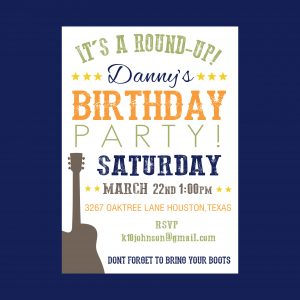 Cowboy/Western Birthday Party Invitation