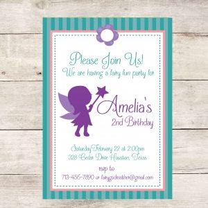 Fairy Birthday Party Invitation (Teal/Purple)