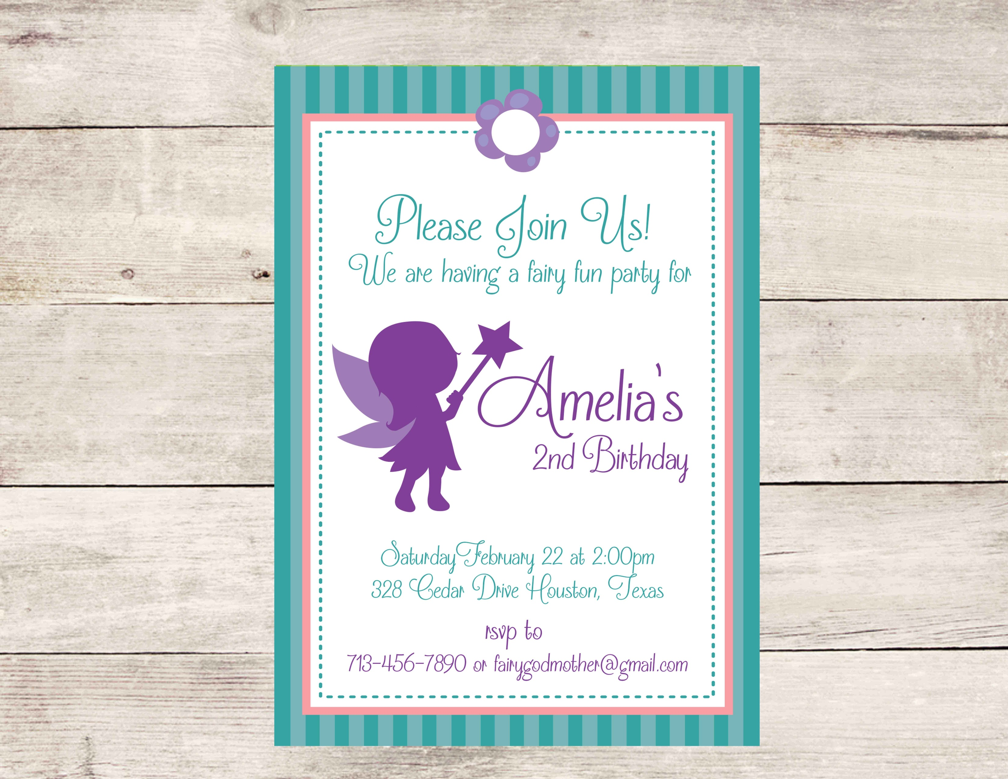 Fairy Birthday Party Invitation (Teal/Purple) - Crowning Details