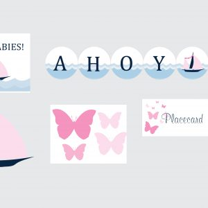 Sailboat Baby Shower Package- Pink & Blue