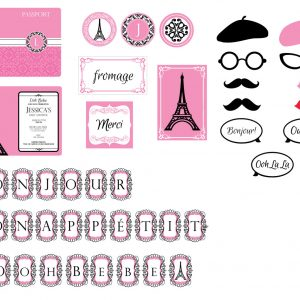 Parisian Baby Shower Package- Pink