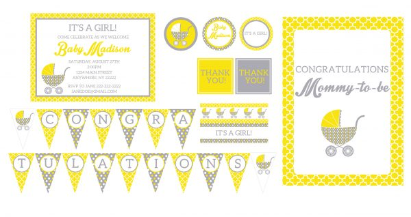 Yellow & Grey Vintage Stroller Baby Shower Package