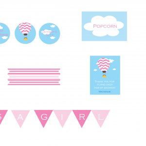 Hot Air Balloon Baby Shower Package- Pink