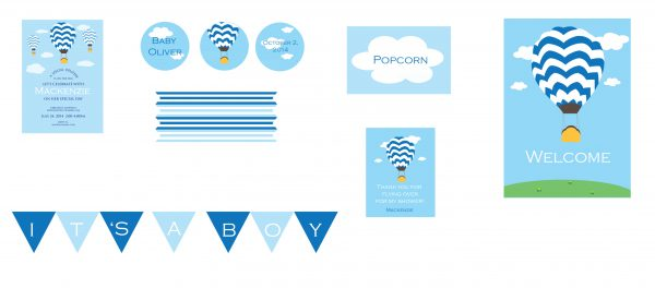 Hot Air Balloon Baby Shower Package- Blue