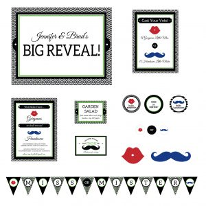 Mustaches & Lips Gender Reveal Party- Red/Blue