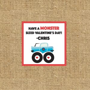 """Have a MONSTER sized Valentine's Day"" Monster Truck Cards"