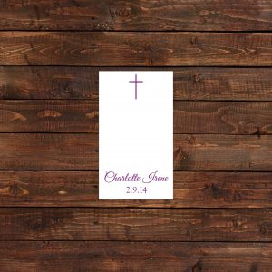Purple Baptism Prayer Cards