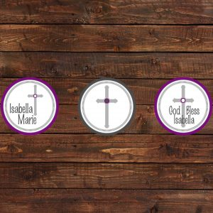 Purple Cross Baptism Cupcake Toppers