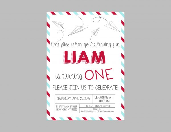 Paper Airplanes Birthday Party Invitation