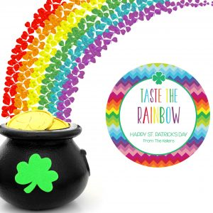 """""""Taste the Rainbow"""" St Patrick's Day Gift Tags- Round"""