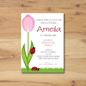 Spring Garden Party Invitation (Ladybug & Tulip)