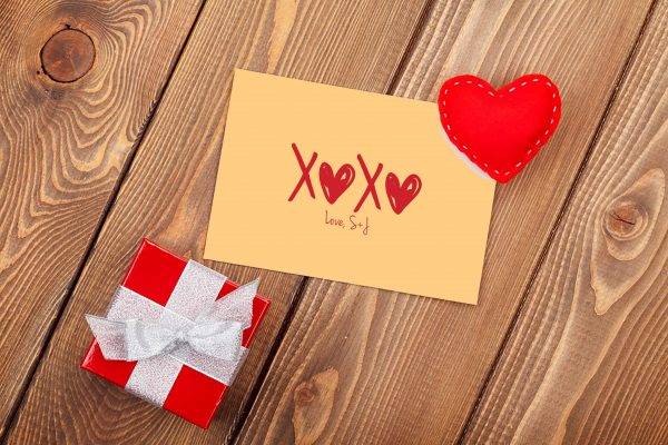 Personalized Orange and Red XOXO Gift Enclosure Card
