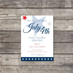 4th of July Invitation- Patriotic Invitation