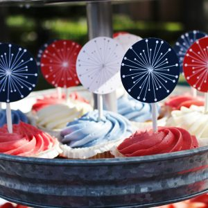 4th of July Fireworks Cupcake Toppers/Party Circles