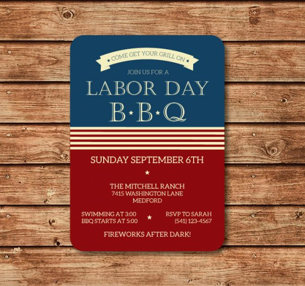 Labor Day Invitation- Memorial Day Invitation- Patriotic Invitation