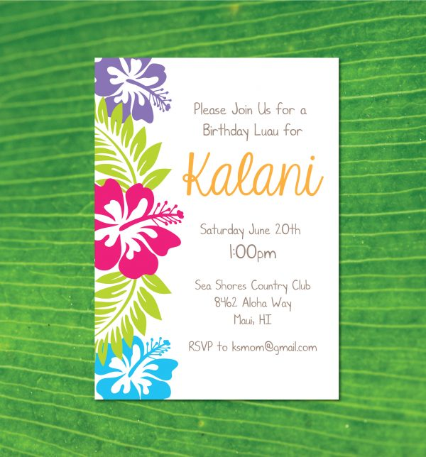 Hawaiian Luau Birthday Party Invitation