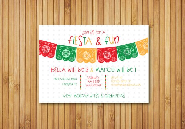 Fiesta Birthday Party Invitation (Primary Colors)