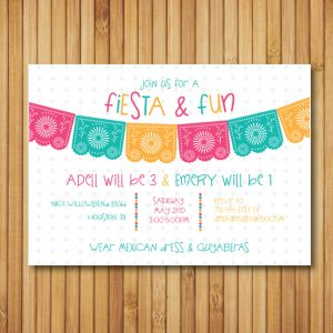 Fiesta Birthday Party Invitation (Bright Colors)