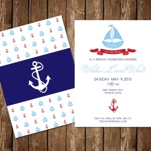 Nautical Birthday Party Invitation- Sailboat Birthday Party Invitation