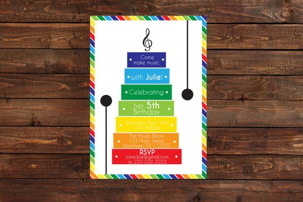 Music Theme Birthday Party Invitation (Primary Colors)