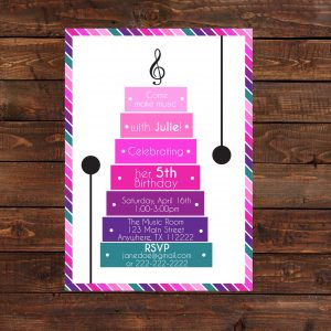 Music Theme Birthday Party Invitation (Bright Colors)