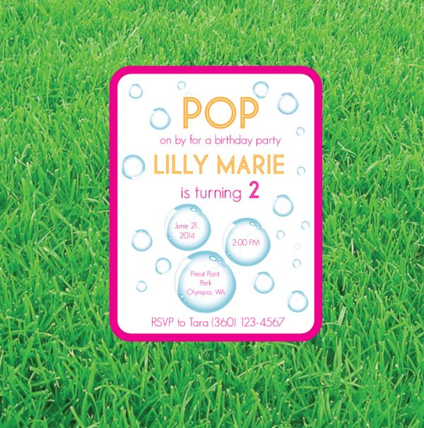 Bubble Birthday Party Invitation (Pink & Orange)