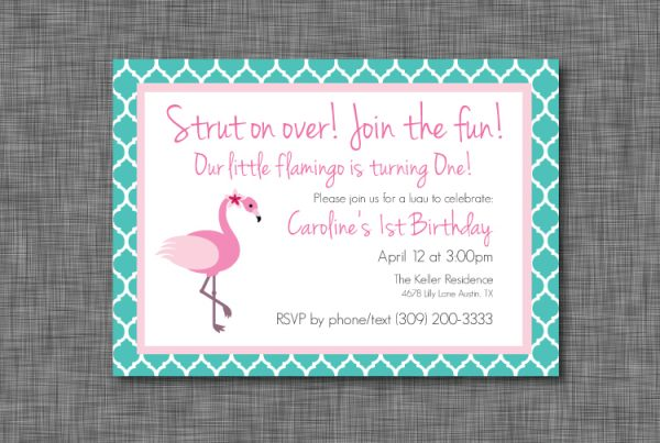 Teal & Pink Flamingo Birthday Party Invitation