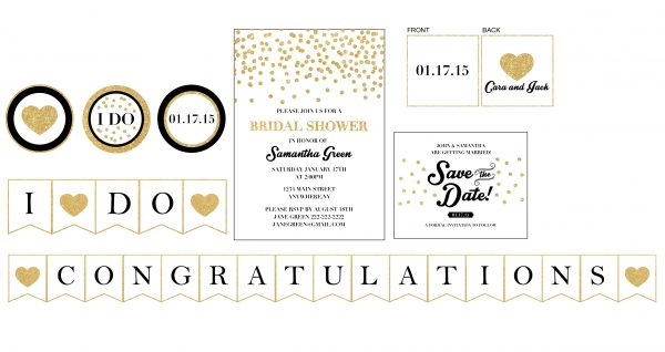 Gold Confetti Bridal Shower Party Package