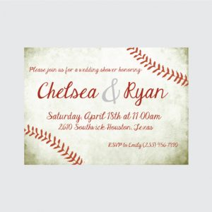 Baseball Theme Couple's Wedding Shower Invitation