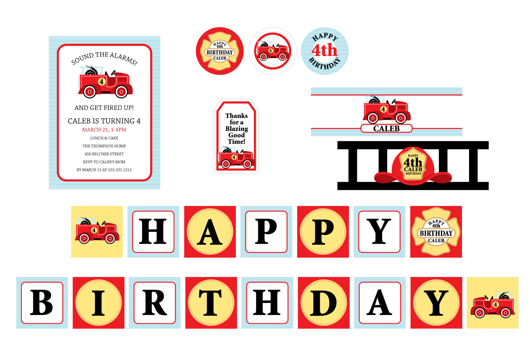 Fireman Party Theme- Firetruck Party Printables - Crowning Details