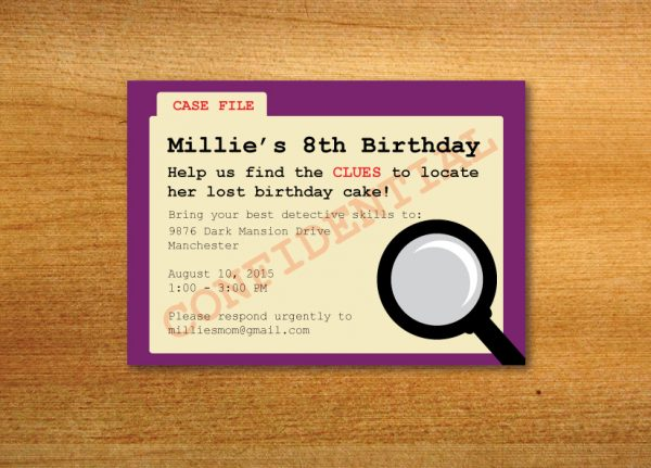 Mystery Theme Party Invitation (Clue Party)