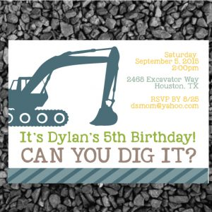 Construction Birthday Party Invitation- Excavator Invitation