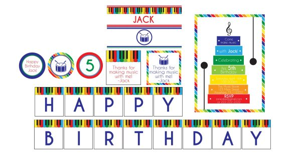 Music Birthday Party Package- Primary Colors