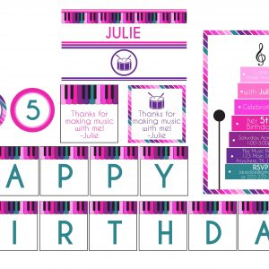 Music Birthday Party Package- Pink/Purple