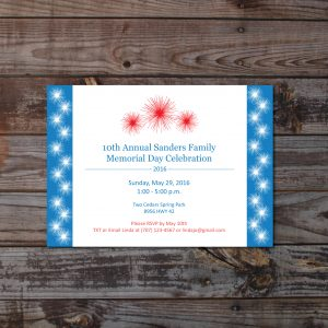 4th of July Fireworks Invitation (Patriotic Invitation)