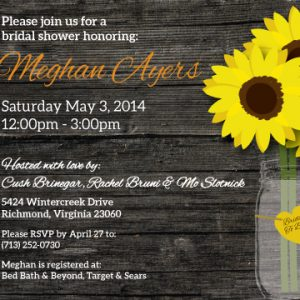 Rustic Chic, Sunflower Bridal Shower Invitation