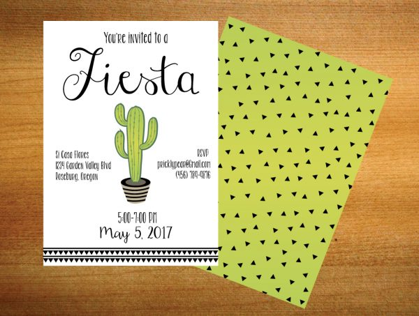 Cactus Party Invitation- Fiesta Invitation