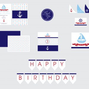 Nautical Birthday Party Theme- Anchors & Sailboats Package