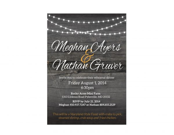 Rustic Chic, Wood & Lights Rehearsal Dinner Invitation